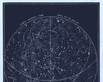 Visible Heavens 02 Constellation Celestial Chart - Astronomy Gift - Astrology Art - Zodiac Sign Star chart - Night Sky Map - April to July
