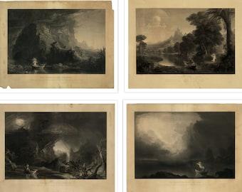 The Voyage of Life Print Set - Antique Religious Art Print - Angel Decor - Curiosities Oddities - Weird & Wonderful - Set of 4 Prints