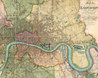 Vintage Color Map of London - England Art Print - Greater London Decor - London Wall Art - River Thames - Old Maps and Prints