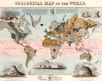 Emslie Geological Map of the World - Vintage Geology Art Print - Educational Earth Science Poster - Old Maps and Prints - Gift for Teacher