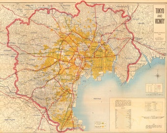 Vintage Map of Tokyo Showing Bombed Out Areas - WWII Wall Art - Japan WW2 Poster Print - Air Corps World War Two - Old Maps and Prints