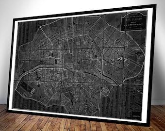 Chez Jean Map of Paris in Black and White - Vintage Art Print - Old Maps and Prints - Antique Parisian Decor - Old Map of Paris Poster