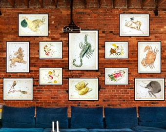 Set of 12 Vintage Signs of the Zodiac Art Prints