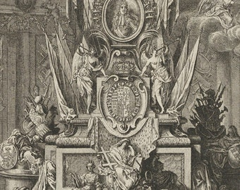 Funeral Monument of Charles V Duke of Lorraine - Historic Frontispiece Illustration - Vintage Art - Old Maps and Prints - French Decor