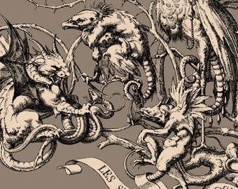 Seven Deadly Sins Grotesque Religious Antique Decor - Demons -  Macabre Art Print - Oddities and Curiosities - Old Maps and Prints