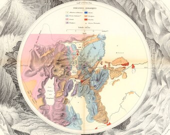 French Panoramic Map of Washoe Nevada Art Print - Antique Geographic Mining Map - Historic Geography Chart - Virginia City Carson Genoa NV