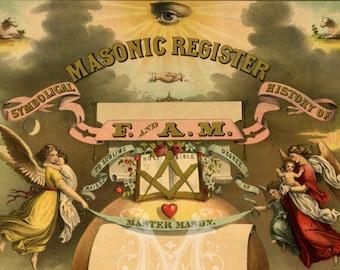 Masonic Register and Symbolical History of F and A M - Vintage Freemason Art Print - Antique Master Mason - Americana - Secret Society