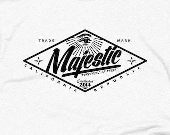 Majestic Diamond Logo Vintage Style T Shirt - Slim Fit Hipster Shirt - American - Unisex Apparel - 50/50 Logo Tees