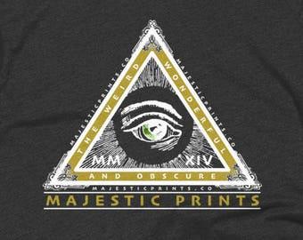Majestic Pyramid Logo Vintage Style T Shirt - Slim Fit Hipster Shirt - American - Unisex Apparel - 50/50 Logo Tees