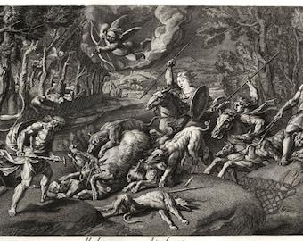 Meleager & Atalanta Hunting - Vintage Art Print - Greek Mythology Art - Old Maps and Prints - Antique Wall Art - Mens Gift Ideas