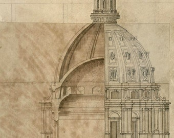 Dome Design for Cathedral of St Paul Vintage Architectural Print - English Decor Art Print -  London Baroque Cathedral Architecture Drawing