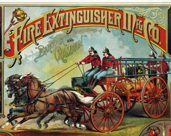 Fire Fighting Supply Ad - Vintage Art Print - Antique Advertising Sign - Old Maps and Prints - Firefighter Decor Gift - Advertising Art