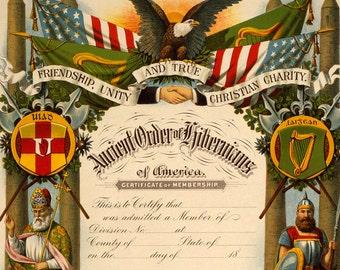 Ancient Order of Hibernians - Vintage Art Print - Antique Irish Catholic Fraternal Certificate - Friendship Unity and True Christian Charity