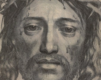 Face of Christ Antique Religious Art - Portrait of Jesus - Veil of Saint Veronica Engraving Print - Curiosities Oddities - Weird & Wonderful