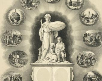 Odd Fellows Membership Certificate - Vintage Art Print - Victorian Document - 1800's Americana - Curiosities - Oddities - Fraternal Order