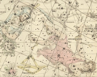 Vintage Perseus Andromeda Constellation Celestial Map - Astronomy Gift - Astrology Art Prints - Zodiac Sign - Restoration Style Wall Decor