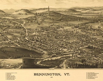 Vintage Panoramic Map of Bennington Vermont - Old Maps and Prints - Wall Decor - Antique Americana - Historic Bennington Battle Monument