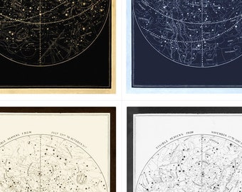 Visible Heavens Print Set - Constellation Celestial Chart - Astronomy Gift - Astrology Art - Zodiac Sign - Star Map - Old Maps and Prints