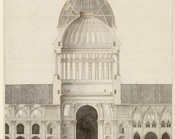 Cathedral of St Paul - Vintage Architectural Print - Religious Art Print - English Decor -  London Baroque Cathedral Architecture Drawing