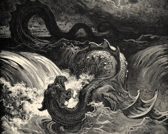 Gustave Dore's Destruction of Leviathan - Vintage Religious Art - Antique Wall Art - Old Maps and Prints - Isaiah 27 - Bible Verse Art