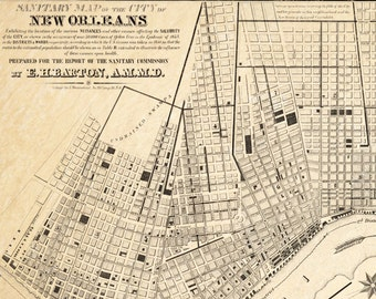 Sanitary Map of New Orleans - Epidemiology Science - Old Maps and Prints - Crescent City Wall Art - Antique City Map - Historic Cartography