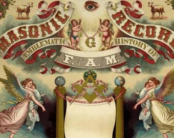 Masonic Record and Emblematic History 1872 - Vintage Masonic Collectible Art Print - Freemason Antique Certificate - Master Mason Americana