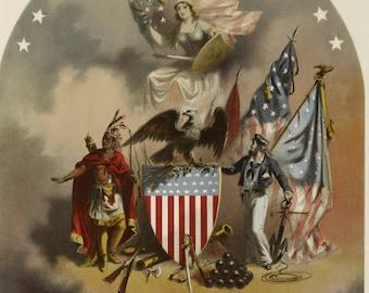 Arms of the United States of America - Vintage Art Print - Victorian Antique  - 1800's Americana - Curiosities - Patriotic Paper Ephemera