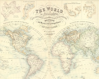 World in Hemispheres with Comparative Views 1872 - Old Maps and Prints - Wall Art - Historic Map - Restoration Style - Map of the World