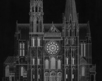 Cathedral de Chartres in Black - Vintage Architecture - Old Maps and Prints - Architectural Technical Drawing - Restoration French Decor