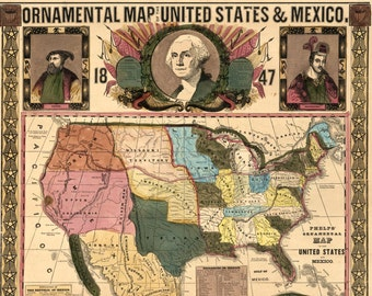 1847 Ornamental Map of the United States and Mexico - Vintage Art Print - Antique US Map - Americana - United States Historic Wall Map