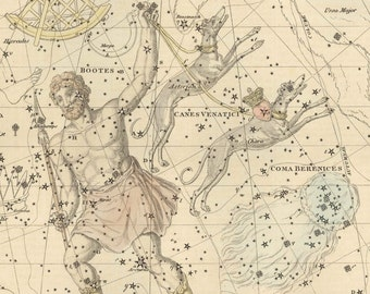 Vintage Bootes Canes Venatici Coma Berenices Constellation Celestial Map - Astronomy Gift - Astrology - Zodiac Sign - Restoration Art Prints