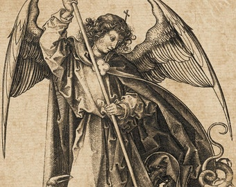 Saint Michael Slaying the Dragon Vintage Art Print - Religious Art - Archangel - Angels and Demons - Satan - Grotesque Odd Weird Art