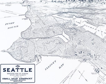 Vintage Panoramic Map of Seattle - Old Maps and Prints - Emerald City Wall Decor - Antique Americana - Historic Pacific Northwest Poster