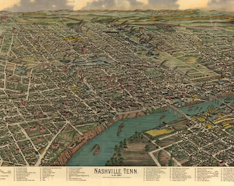 Bird's-Eye View of Nashville Tennessee in the 1880's - Southern Wall Decor