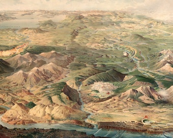 1904 Panorama of Yellowstone National Park Art Print - Vintage Travel Decor - Northern Pacific Railway Tourism Poster - Old Maps and Prints