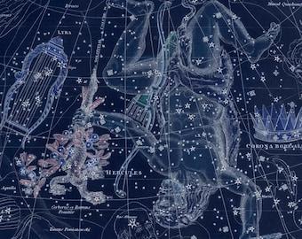 Vintage Lyra Hercules Corona Borealis Constellation Celestial Map - Astronomy Gift - Astrology Decor - Zodiac Sign - Restoration Art Prints