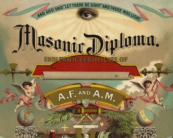 Masonic Diploma 1890 - Vintage Master Mason Art Print - Antique Freemason Ephemera - 1800's Americana - Curiosities - Secret Society