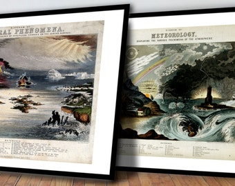 FRAMED Meteorology and Natural Phenomena Meteorological Art Print Set - Antique Geology Set of Prints - Old Maps and Prints - Cool Gift Idea