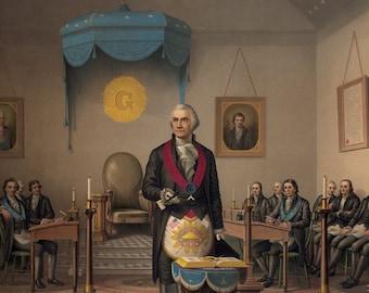 George Washington as a Master Mason - Vintage Masonic Art - Old Maps and Prints - Historic Antique - Victorian Document - 1800s Americana