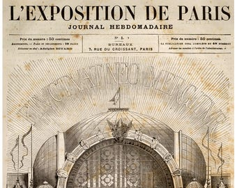 Vintage Architectural Print - L'Exposition de Paris - Art Print - French Decor - Paris Architecture Drawing