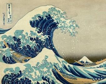 Hokusai Great Wave Art Print - Vintage Ocean Art - Japanese Woodblock Ukiyo-e - Edo Period Art - Mount Fuji Kanagawa Japan - Fishing Decor