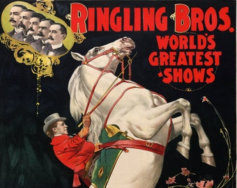 Ringling Brothers Circus Ad - Vintage Art Print - Antique Advertising Sign - Old Maps and Prints - Circus Decor Gift - Advertising Art