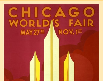 Chicago Worlds Fair Poster 1933 - Vintage Chicago Art Prints - Windy City Retro Poster - Home Decor Wall Art - 1930s Red Art Deco Print