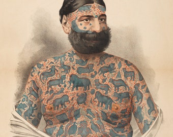 Tattooed Man Sideshow Poster - Captain Costentenus Vintage Art Print - Antique Advertising Art - Tattoo Greek - Circus Ephemera