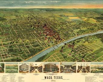 1892 Bird's Eye Map of Waco Texas Vintage Art Print - Magnolia Style Home Decor