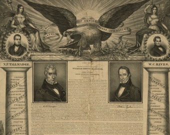 Westward the March of Empire - Vintage Art Print - Victorian Antique 1800's Americana - Curiosities - Historic Political Paper Ephemera