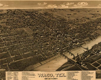 1866 Map of Waco Texas Antique Birds Eye City Map - Magnolia Style Farm Decor
