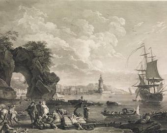 Vue de Pausilype Pres de Naples Vintage Art - History Gift - Maritime Decor Nautical Print - Posillipo Pausilypon - Old Maps and Prints
