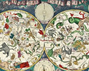 De Wit's Planisphaeri Coeleste Astronomy Art Print - Vintage Celestial Zodiac Chart - Astrological Star Chart - Restoration Style Map