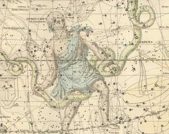 Vintage Opiuchus & Serpens Constellation Celestial Map - Astronomy Gift - Astrology Decor - Star Chart Poster - Restoration Art Prints